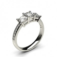White Gold Princess Three Stone Diamond Engagement Ring