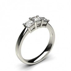 Princess Platinum  Trilogy Diamond Engagement Rings