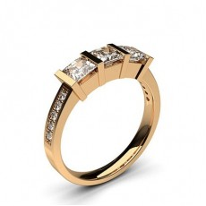 Princess Rose Gold  Trilogy Diamond Engagement Rings