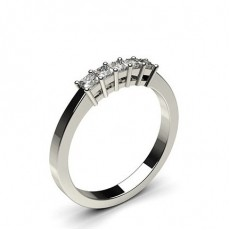 Princess Platinum 5 Stone Diamond Rings