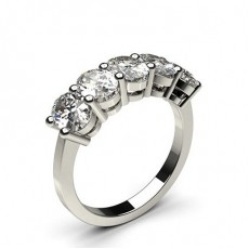 Oval Platinum 5 Stone Diamond Rings
