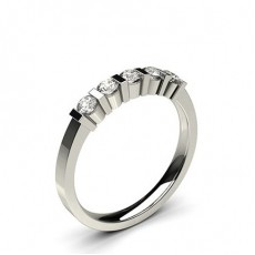 Round White Gold 5 Stone Diamond Rings