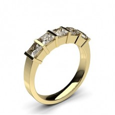 Princess Yellow Gold 5 Stone Diamond Rings