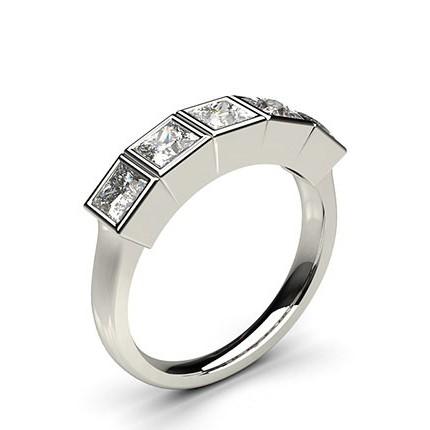 Full Bezel Setting Plain Five Stone Ring
