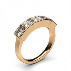 Princess Rose Gold 5 Stone Diamond Rings