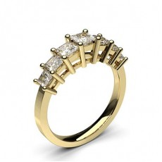 Princess Yellow Gold 7 Stone Diamond Rings