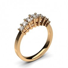 Princess Rose Gold 7 Stone Diamond Rings