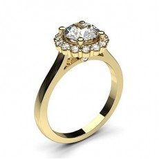 Round Yellow Gold  Halo Diamond Engagement Rings