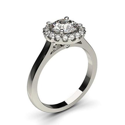 White Gold Halo Diamond Engagement Ring