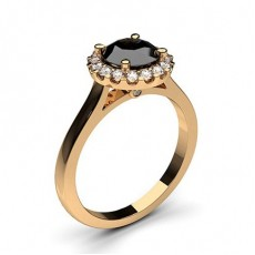 Round Rose Gold Black Engagement Engagement Rings