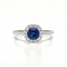 Cushion Halo Blue Sapphire Engagement Ring