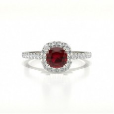 Cushion Platinum Gemstone Engagement Rings