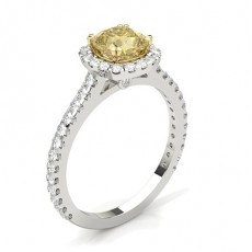4 Prong Yellow Diamond Halo Engagement Ring