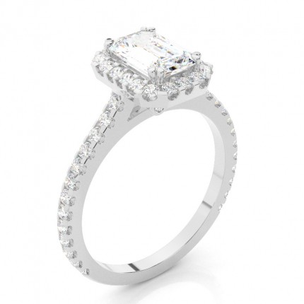 Yellow Gold Heart Halo Diamond Engagement Ring