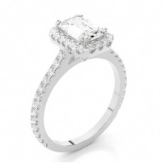 Emerald White Gold  Halo Diamond Engagement Rings