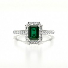 Emerald Side Stone Engagement Rings