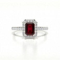 Emerald Halo Ruby Engagement Ring