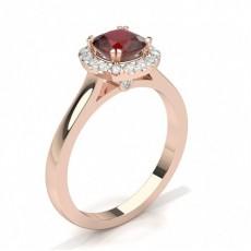 Coussin Or Rose Halo Bague de fiançailles