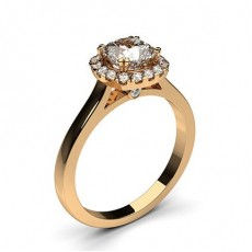 Cushion Rose Gold  Halo Diamond Engagement Rings