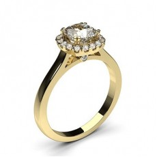 Cushion Yellow Gold Halo Engagement Rings