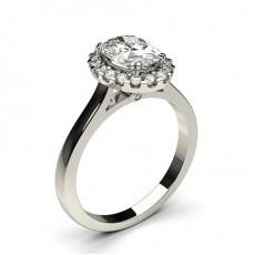 White Gold Oval Halo Diamond Engagement Ring