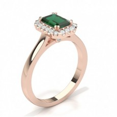 Emerald Rose Gold Halo Engagement Rings