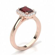 Emeraude Or Rose Halo Bague de fiançailles