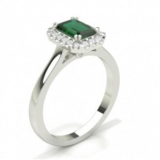 Emerald White Gold Halo Engagement Rings