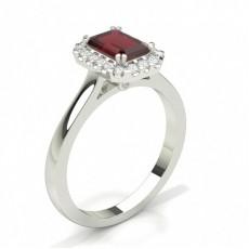 Emerald Platinum Gemstone Diamond Rings