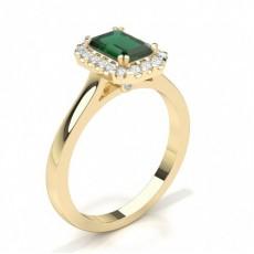 Smaragd Gelbgold Haloringe Verlobungsringe