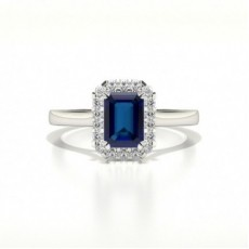 Halo Diamond Emerald Blue Sapphire Engagement Ring