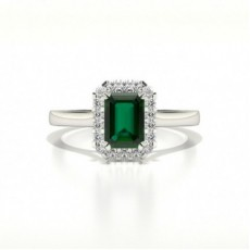 Halo Diamond Emerald Shaped Emerald Engagement Ring