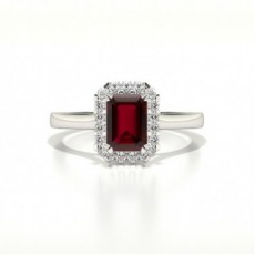 Halo Diamond Emerald Shaped Ruby Engagement Ring