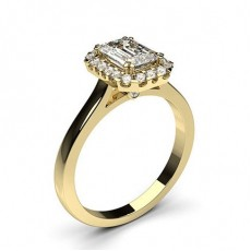 Emerald Yellow Gold Diamond Engagement Rings