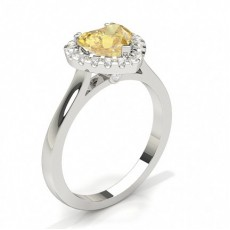 Prong Yellow Diamond Halo Engagement Ring