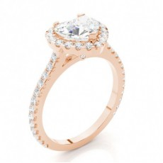 Heart Rose Gold  Halo Diamond Engagement Rings