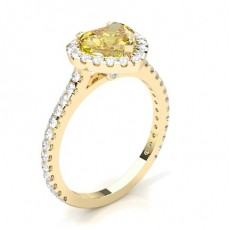 Heart Yellow Gold Halo Diamond Engagement Rings