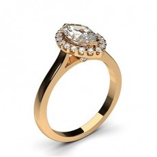 Marquise Rose Gold  Halo Diamond Engagement Rings