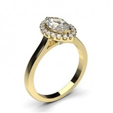 Marquise Yellow Gold Halo Engagement Rings