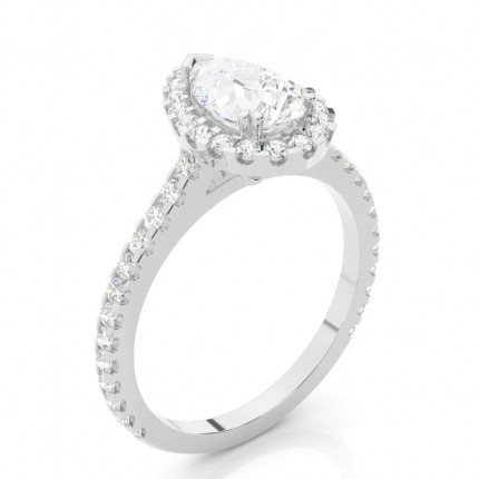 Prong Setting Halo Diamond Engagement Ring
