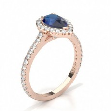 Pear Rose Gold Halo Engagement Rings