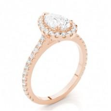 Tropfen Rotgold  Haloringe Verlobungsringe