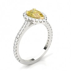 Pear White Gold Yellow Diamond Rings