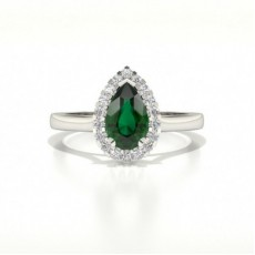 Halo Diamond Pear Emerald Engagement Ring