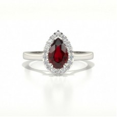 Halo Diamond Pear Ruby Engagement Ring