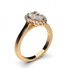 Pear Rose Gold Halo Diamond Engagement Rings