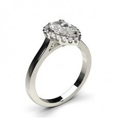Pear Platinum  Halo Diamond Engagement Rings