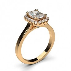 Radiant Rose Gold  Halo Diamond Engagement Rings