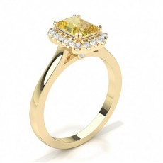 Radiant Yellow Gold Halo Diamond Engagement Rings