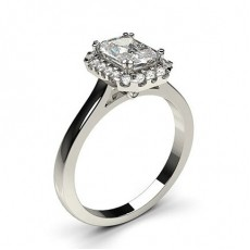 Radiant White Gold Halo Diamond Engagement Rings